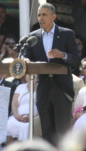 President Barack Obama speaking at the Cannon Ball North Dakota Flag Day Celebration June 13th 2014